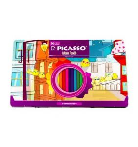 مداد رنگی ۳۶ رنگ جعبه فلزی پیکاسو (Picasso) مدل Superb Writer طرح جوجه ها