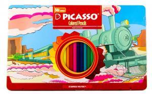 مداد رنگی ۳۶ رنگ جعبه فلزی پیکاسو (Picasso) مدل Superb Writer طرح لوکوموتیو