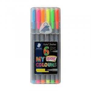 روان نویس نوک نمدی استدلر نئون 6 رنگ (جعبه پلاستیکی)– Staedtler Fineliner My Neon 6 colors