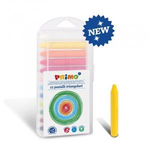 مداد شمعی سه گوش سوپرسافت پریمو، جعبه پلاستیکی 12 رنگ 085PT12P
