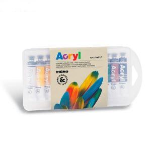 رنگ آکریلیک پریمو، تیوب آلومینومی 7/5میل، بستهبندی پلاستیکی 12رنگ 407TA12PP