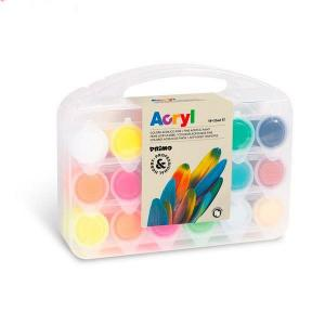 رنگ آکریلیک پریمو، جعبه پلاستیکی محتوی 18 قوطی 25 میل 416TB18ASP