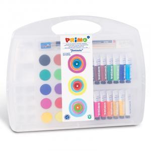 جعبه فانتازیا پریمو: گواش+ آبرنگ + قلممو+ مداد HB+ پاککن+ مدادتراش+ پالت
