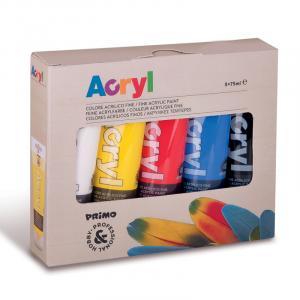 رنگ آکریلیک پریمو، تیوب 75میل، 5 رنگ اصلی، بستهبندی مقوایی 421TATM5