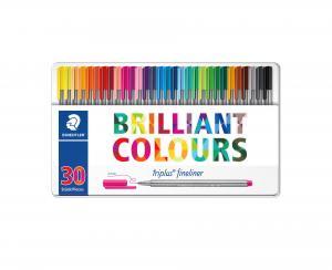 روان نویس نوک نمدی استدلر 30 رنگ ( جعبه فلزی )– Staedtler Fineliner 30 colors