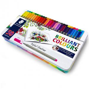روان نویس نوک نمدی استدلر ۵۰ رنگ ( جعبه فلزی )– Staedtler Fineliner 50 colors