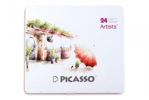 مداد رنگی ۲۴ رنگ جعبه فلزی (Picasso Art)