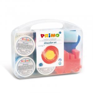 رنگ انگشتی 100گرم پریمو، بستهبندی پلاستیکی 4 رنگ به همراه لوازم جانبی