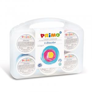 رنگ انگشتی 100گرم پریمو، بستهبندی پلاستیکی 6رنگ