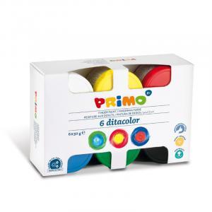 رنگ انگشتی 50گرم پریمو، بستهبندی مقوایی 6رنگ