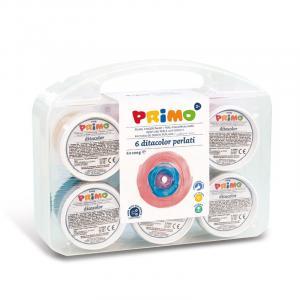 رنگ انگشتی صدفی 100گرم پریمو، بستهبندی پلاستیکی 6رنگ