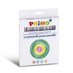 ماژیک نقاشی پریمو با نوک قلممویی، جعبه مقوایی 12رنگ 618BT12