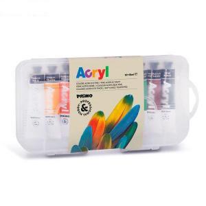 رنگ آکریلیک پریمو، تیوب آلومینومی 18میل، بستهبندی پلاستیکی 10رنگ
