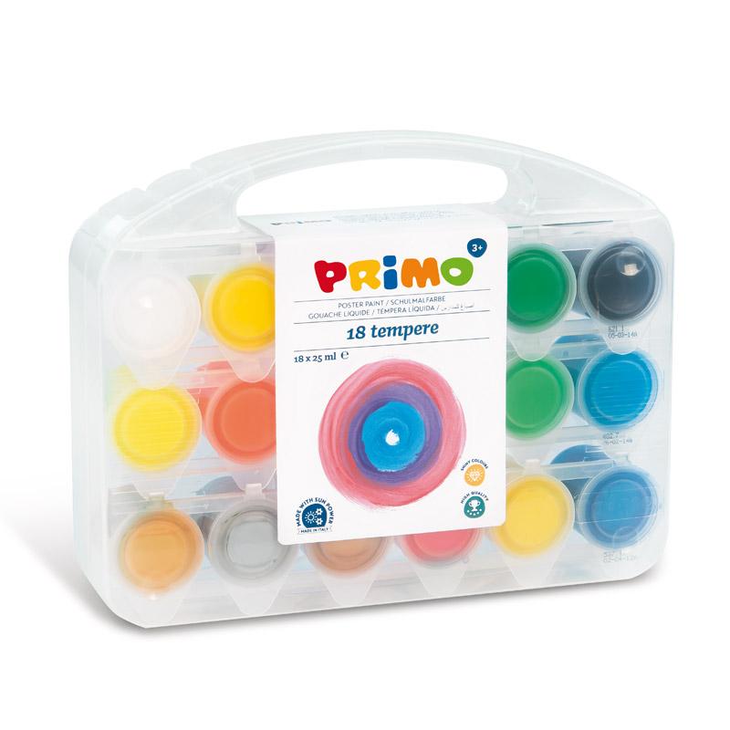 گواش پریمو، جعبه پلاستیکی محتوی قوطی 25 میل، 18 رنگ فلو و متالیک 258TB18FMP
