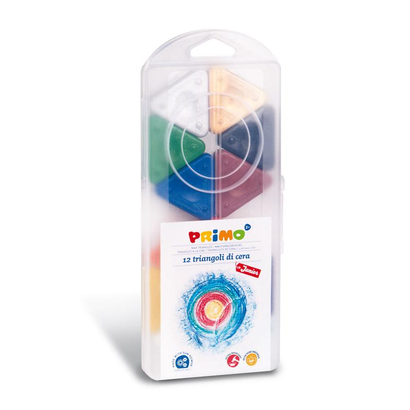 مداد شمعی مثلثی پریمو، جعبه پلاستیکی 12رنگ (شامل طلایی و نقرهای) 073TRI12AP