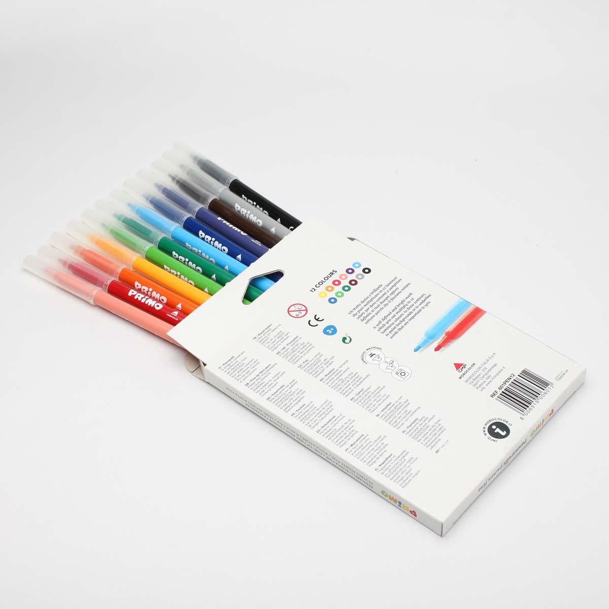 ماژیک نقاشی پریمو، جعبه مقوایی، 12 رنگ 601PEN12